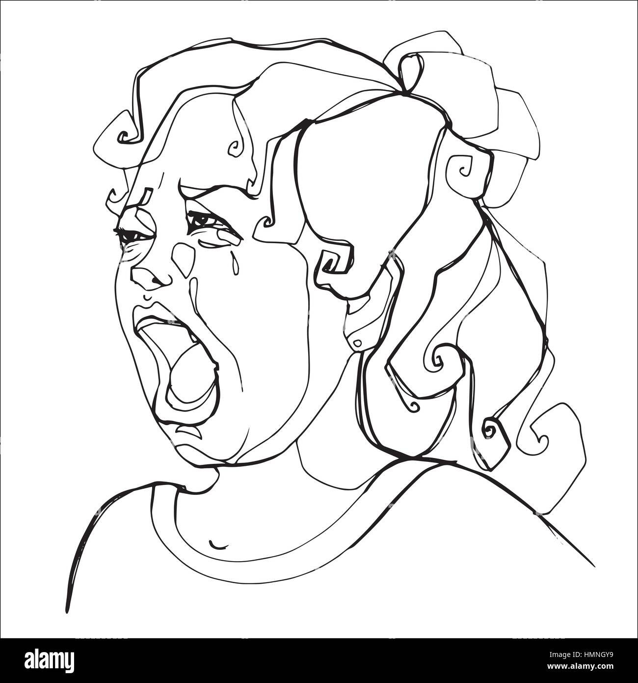 Young Girl Severely Crying Human Emotions Sketch Hand