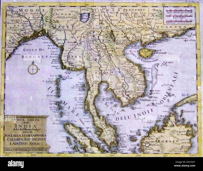Map shows Indochina and Southeast Asia 1750 Stock Photo  133418909     Map shows Indochina and Southeast Asia 1750