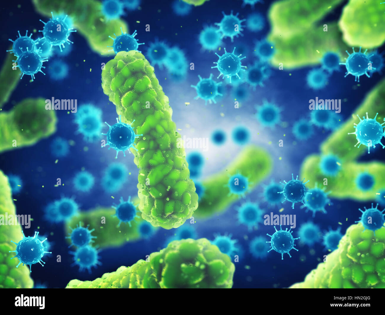 Pathogenic Bacteria And Viruses Microscopic Germs That