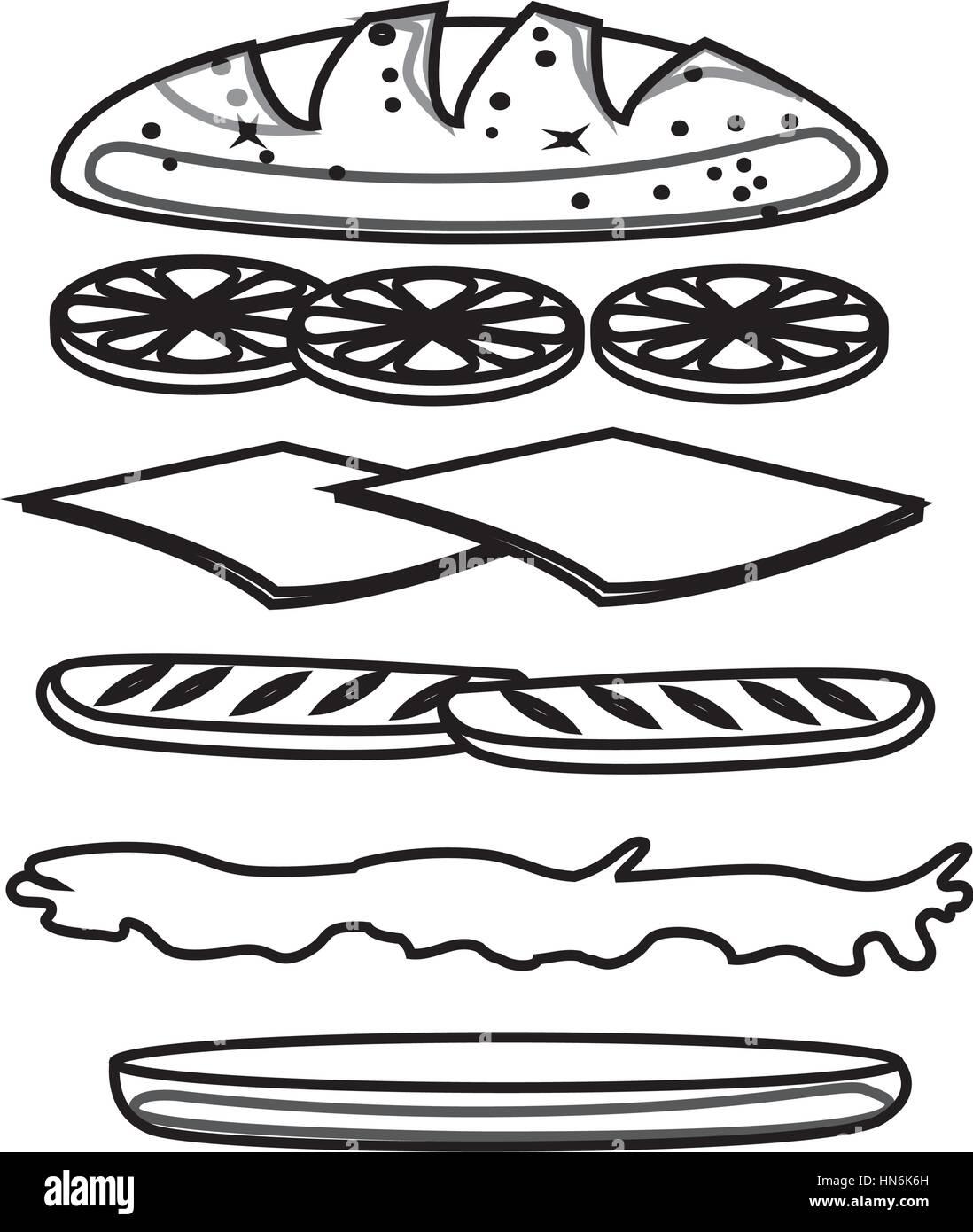 Set Sandwich Ingre Nts Icon Vector Illustration Design