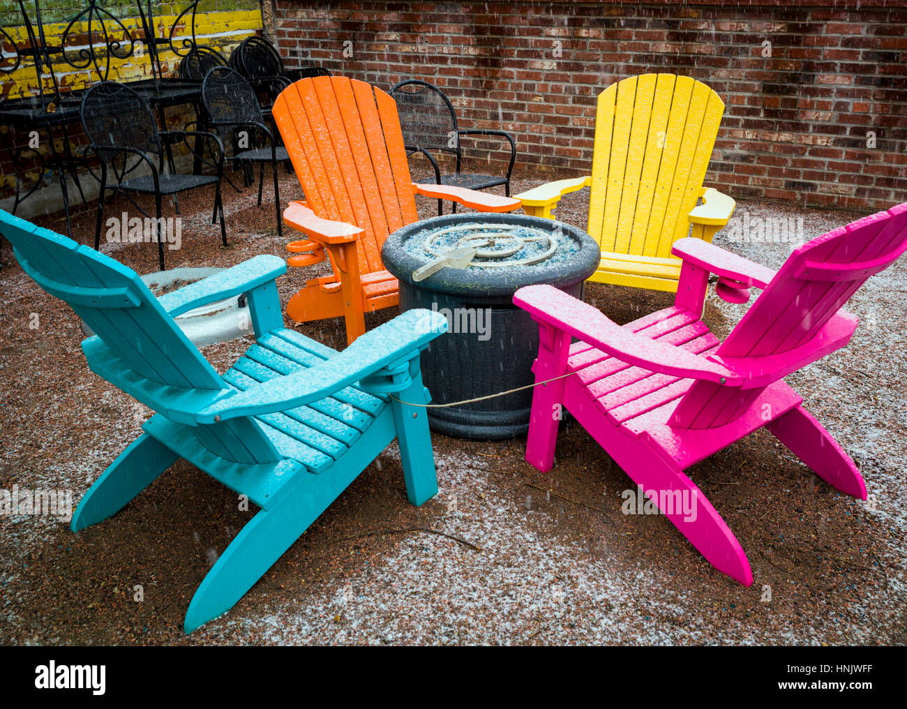 https www alamy com stock photo colorful outdoor chairs in snow on patio of boathouse cantina restaurant 133795523 html