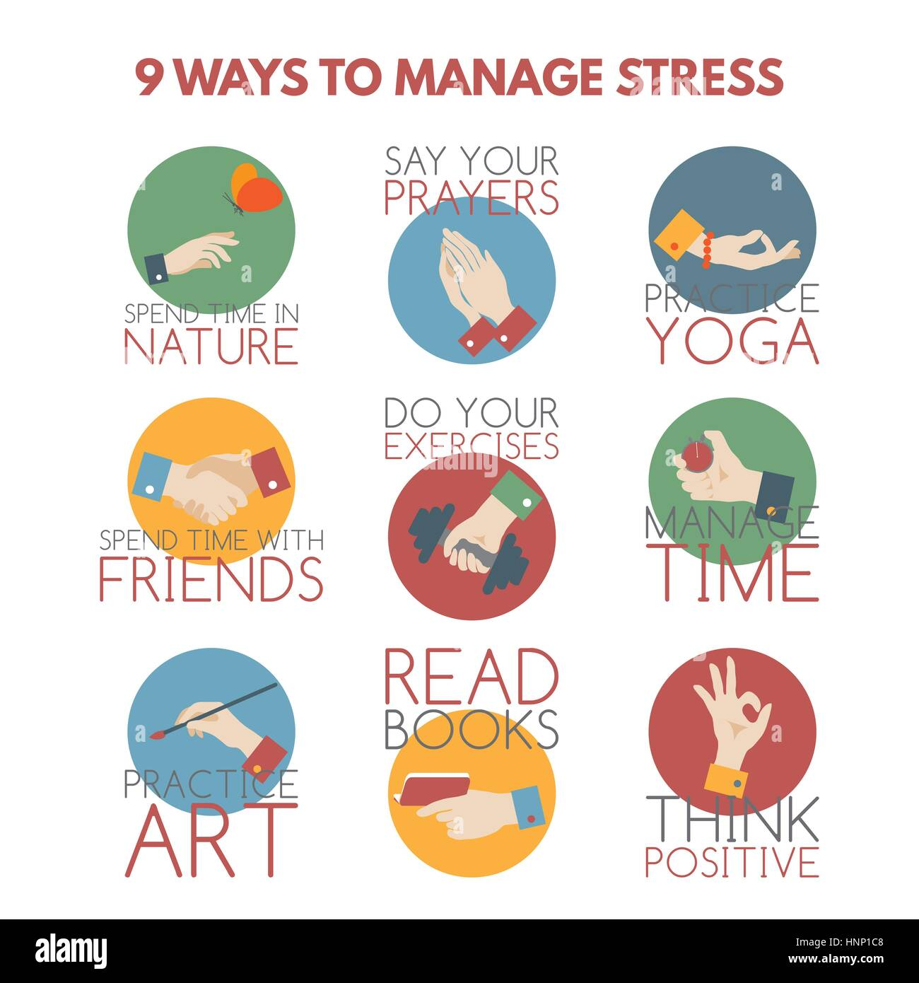 Flat Style Infographic On Stress Management Stock Vector