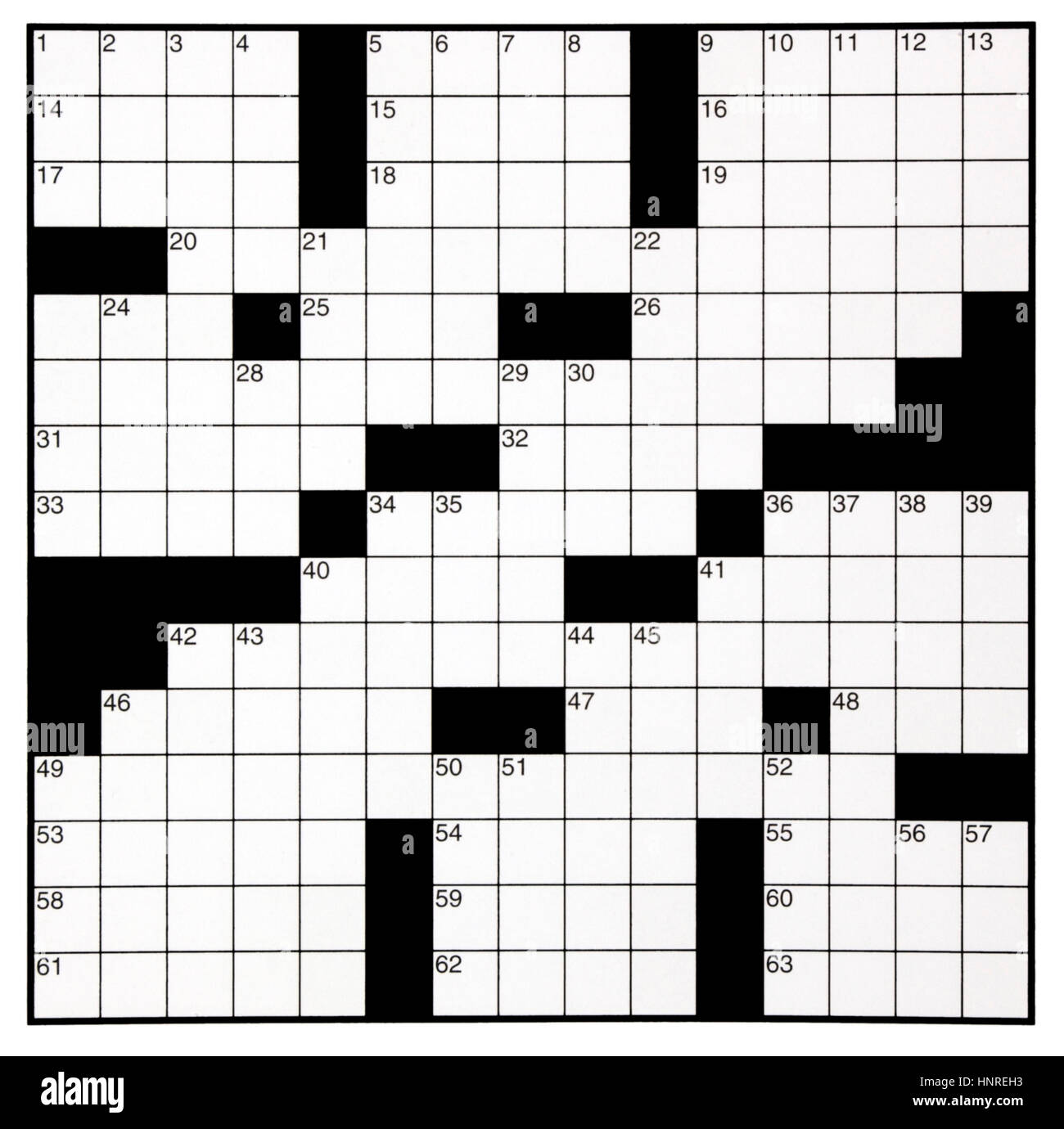 Crossword Puzzle Gallery Blank Grid With Numbers Stock Photo 133896703 Alamy Of