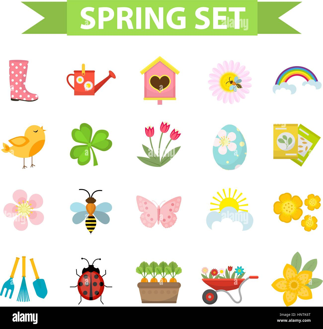 Spring Icons Set Flat Style Gardening Cute Collection Of