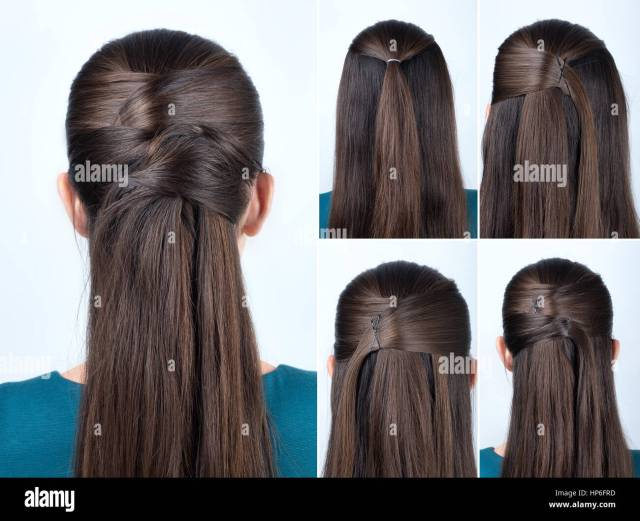 simple half-up hairstyle with pins, tutorial step by step