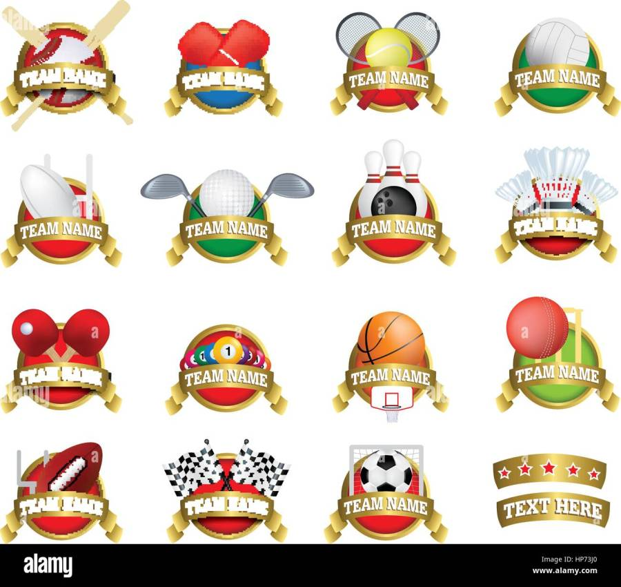 Vector Clip Art Of A Collection Of Sports Team Badges Or