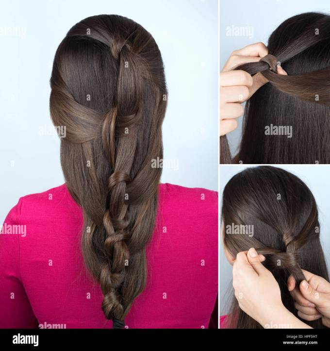 simple hairstyle twisted plait tutorial. easy hairstyle for