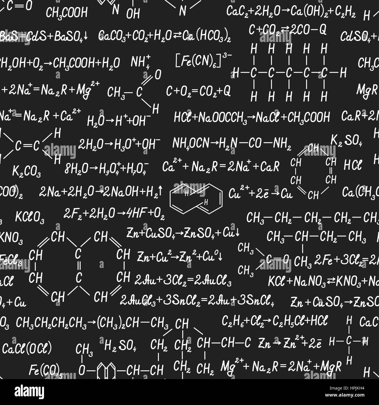 Chemistry Vector Seamless Pattern With Formulas Equations