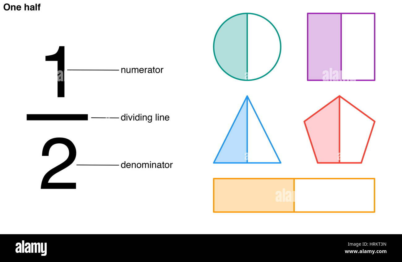 One Half Fraction With The Numerator Dividing Line And Denominator Stock Photo