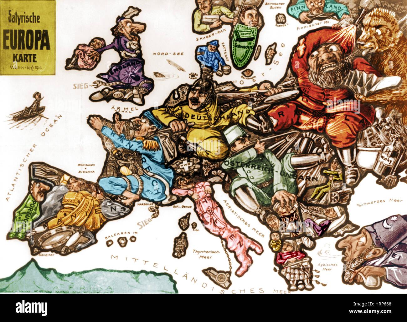 Wwi Satirical War Map Of Europe Stock Photo