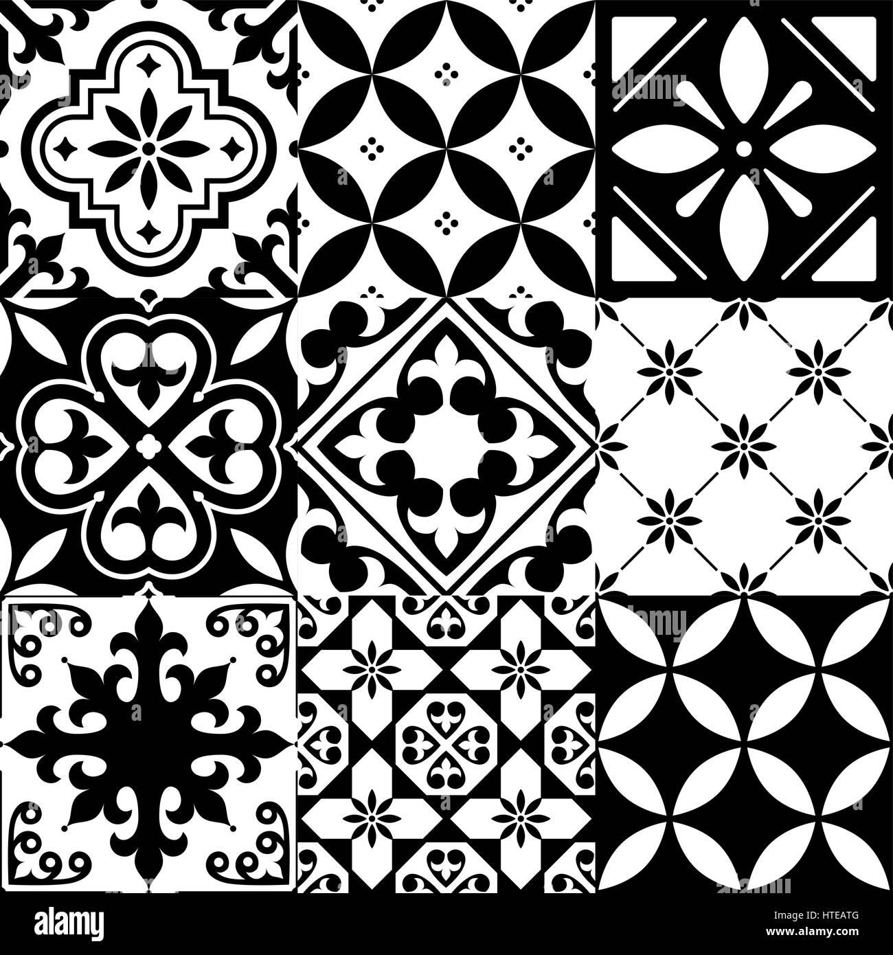 https www alamy com stock photo spanish tiles moroccan tiles design seamless black pattern 135540176 html