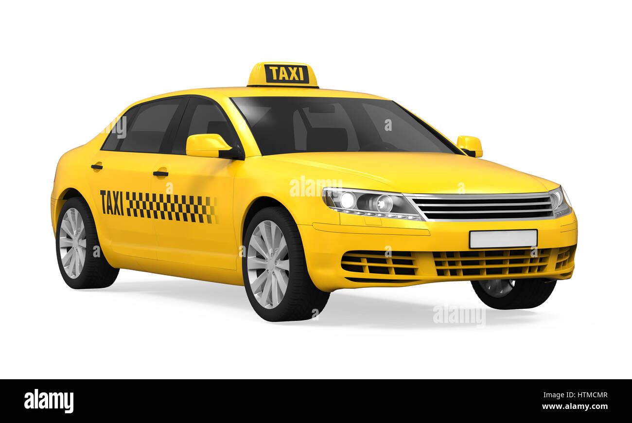 Yellow Taxi Isolated On White Background 3d Render Stock