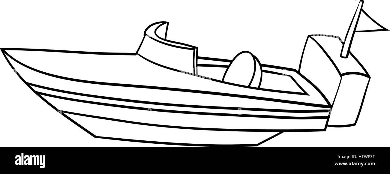 Illustration Of Isolated Cartoon Speed Boat EPS8 Stock