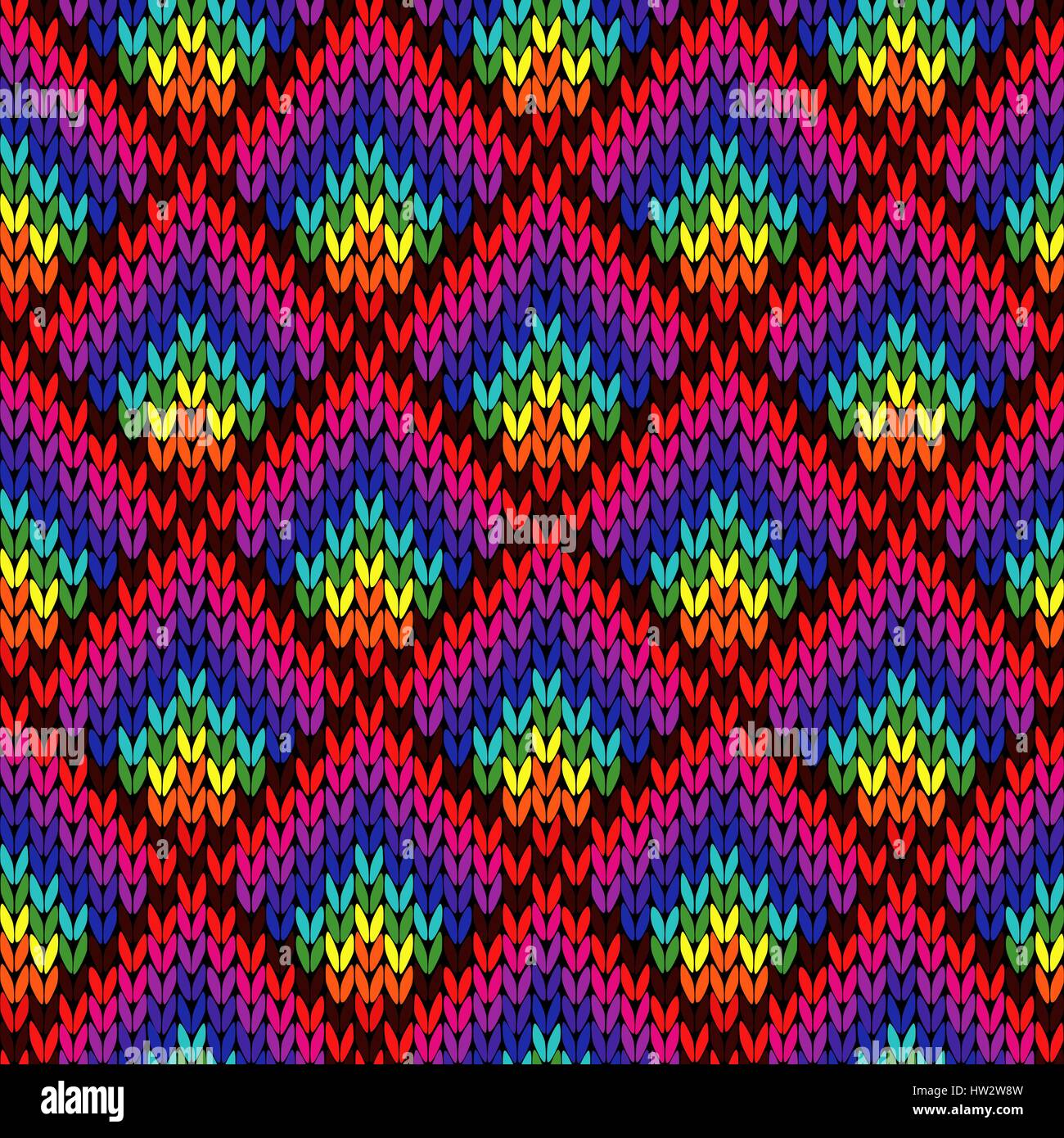 Knitting Seamless Colourful Geometric Vector Pattern In