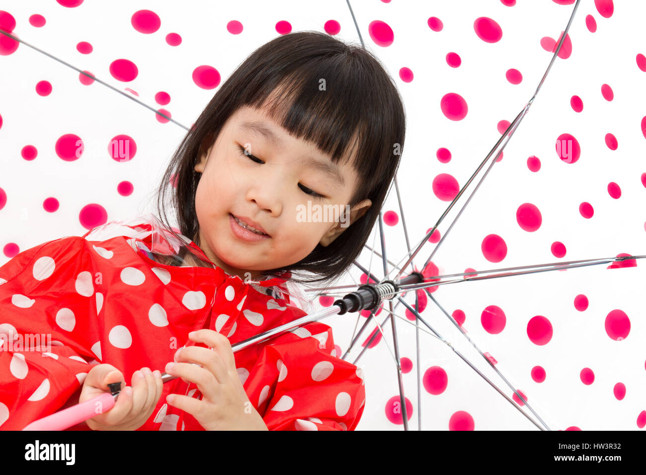 Chinese Little Girl Holding Umbrella Stock Photos