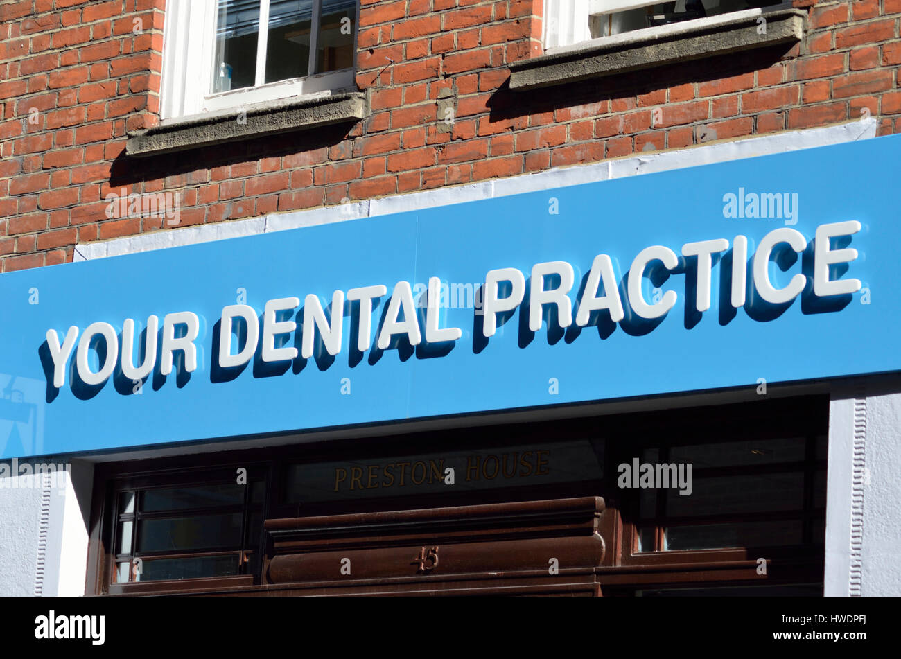 Your Dental Practice Sign Outside A Dentist Stock Photo