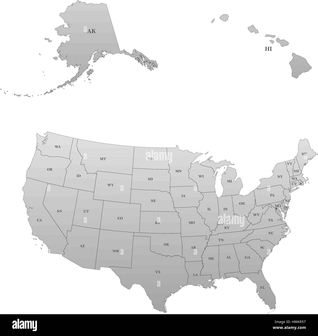 Detailed Map Of The United States Including Alaska And Hawaii Stock Vector Image Art Alamy