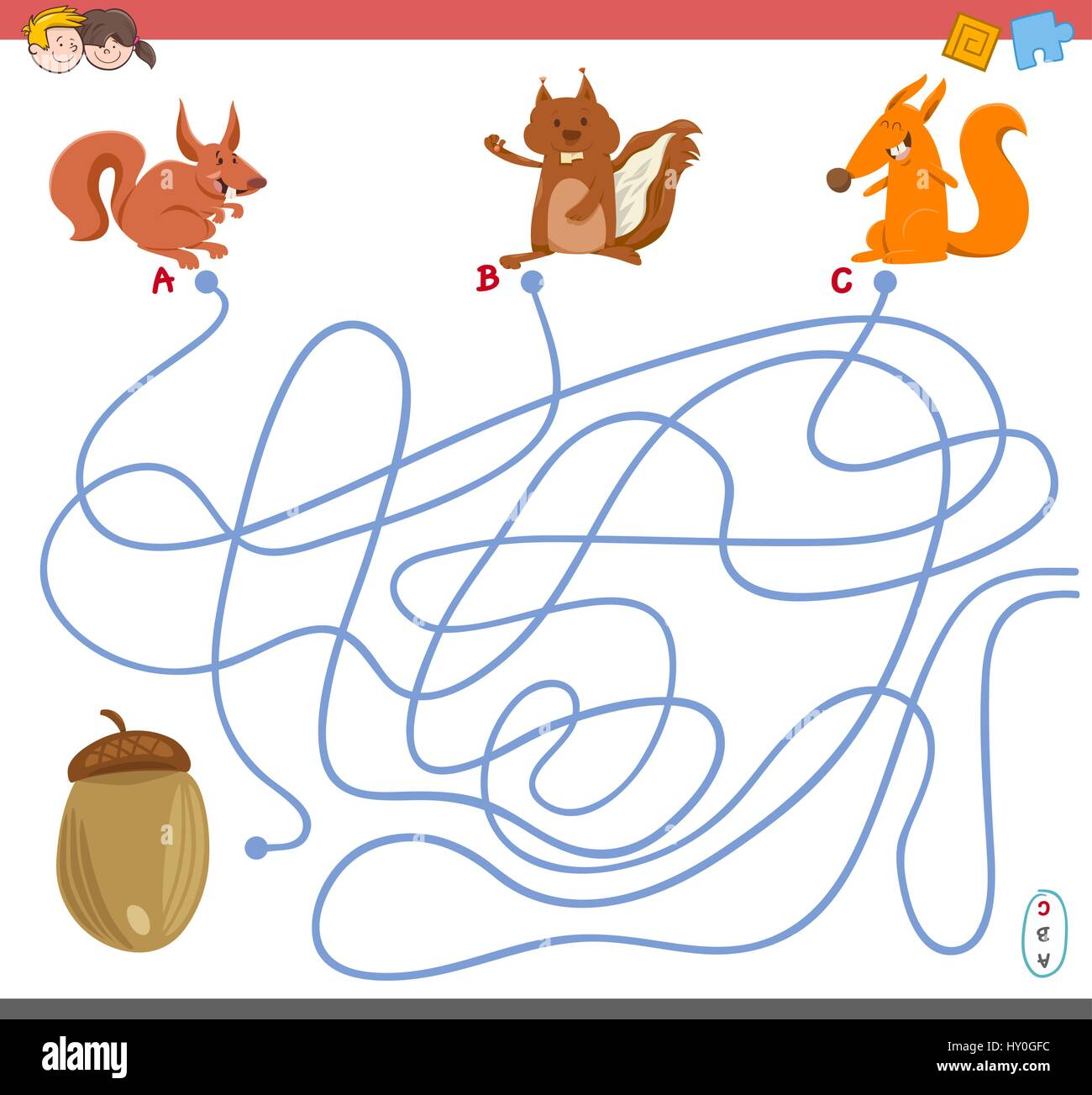Cartoon Illustration Of Paths Or Maze Puzzle Activity Game
