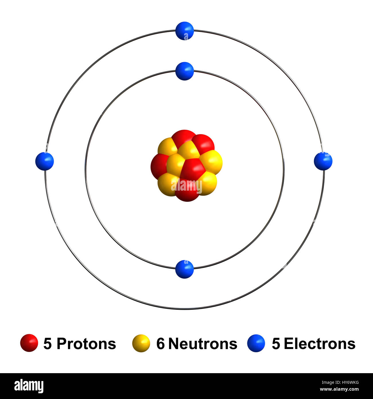3d Render Of Atom Structure Of Boron Isolated Over White Stock Photo Royalty Free Image