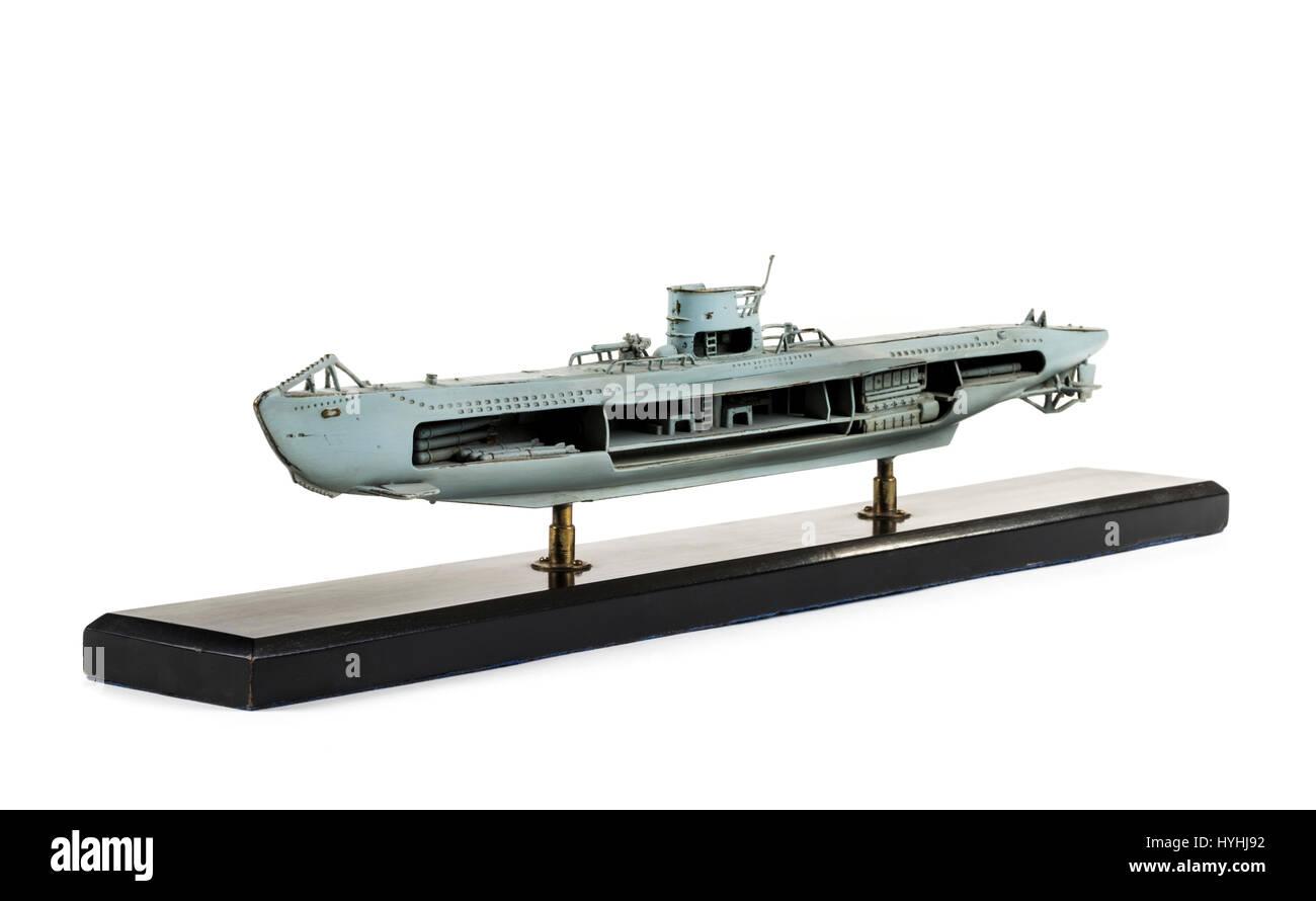 Brass Cutaway Model Of A Ww2 German U Boat Painted In Grey