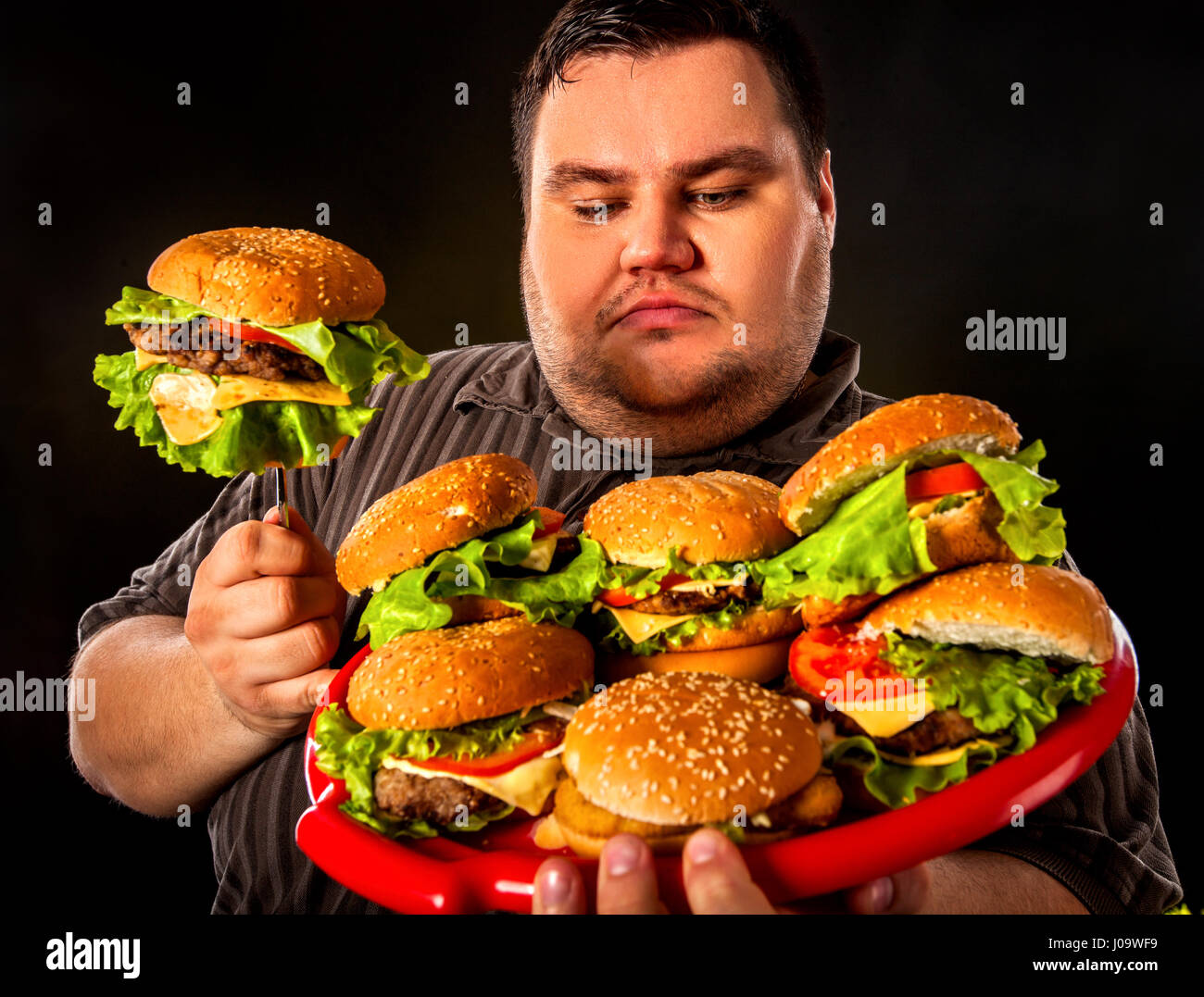 Eating Happy Burger Fat Guy
