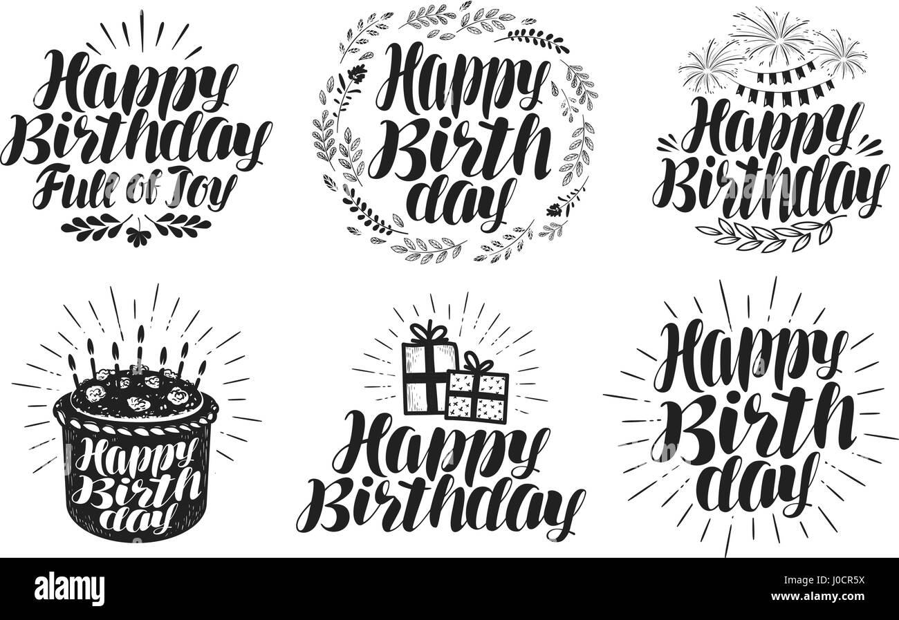 Happy Birthday Label Set Birth Day Holiday Symbol Or