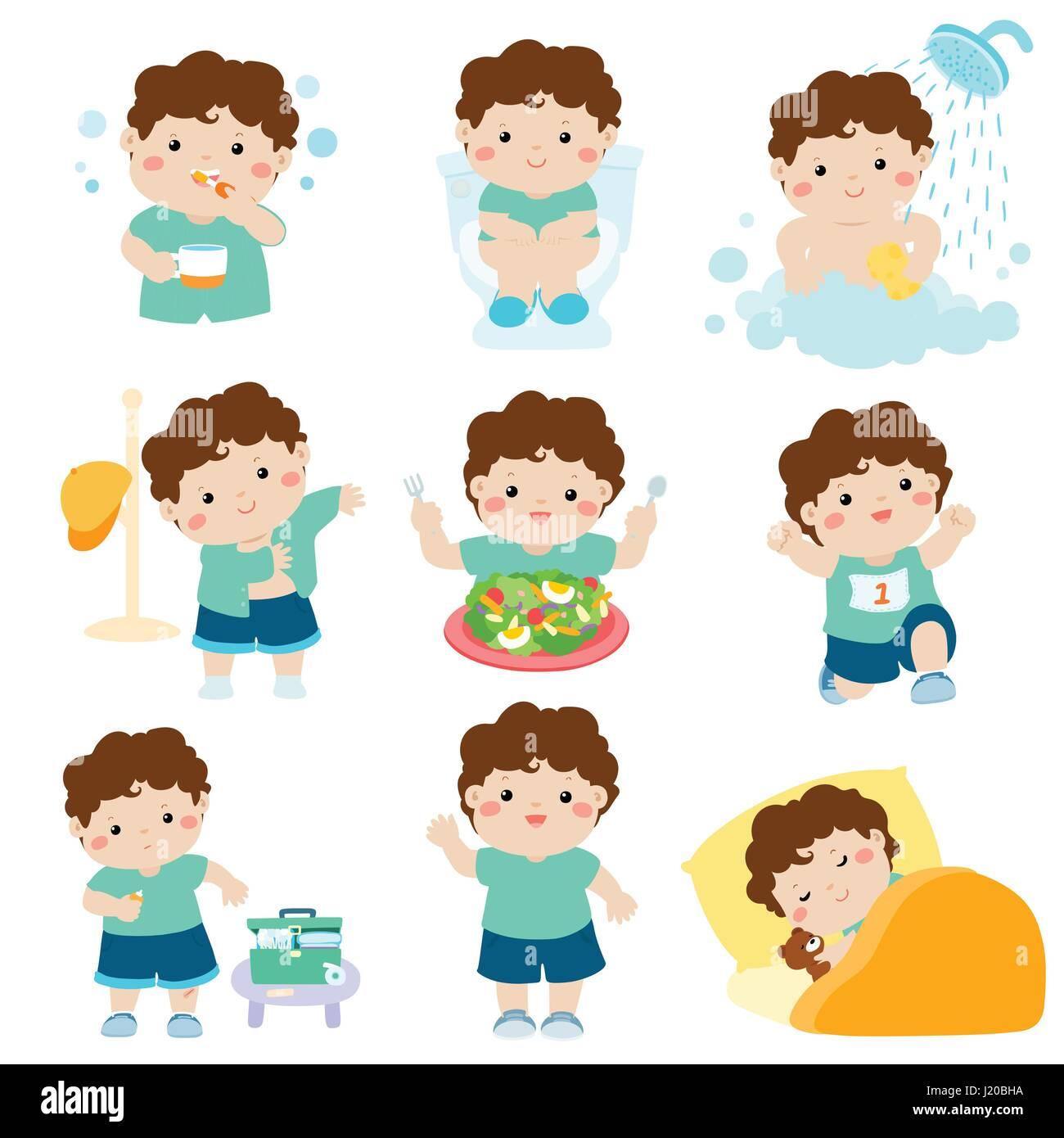 Cute Brown Skin Boy Have Healthy Hygiene Take A Bath Using