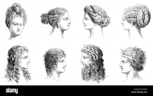 traditional hairstyles in ancient greece stock photo