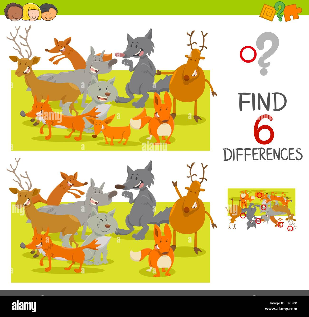 Cartoon Illustration Of Spot The Differences Educational