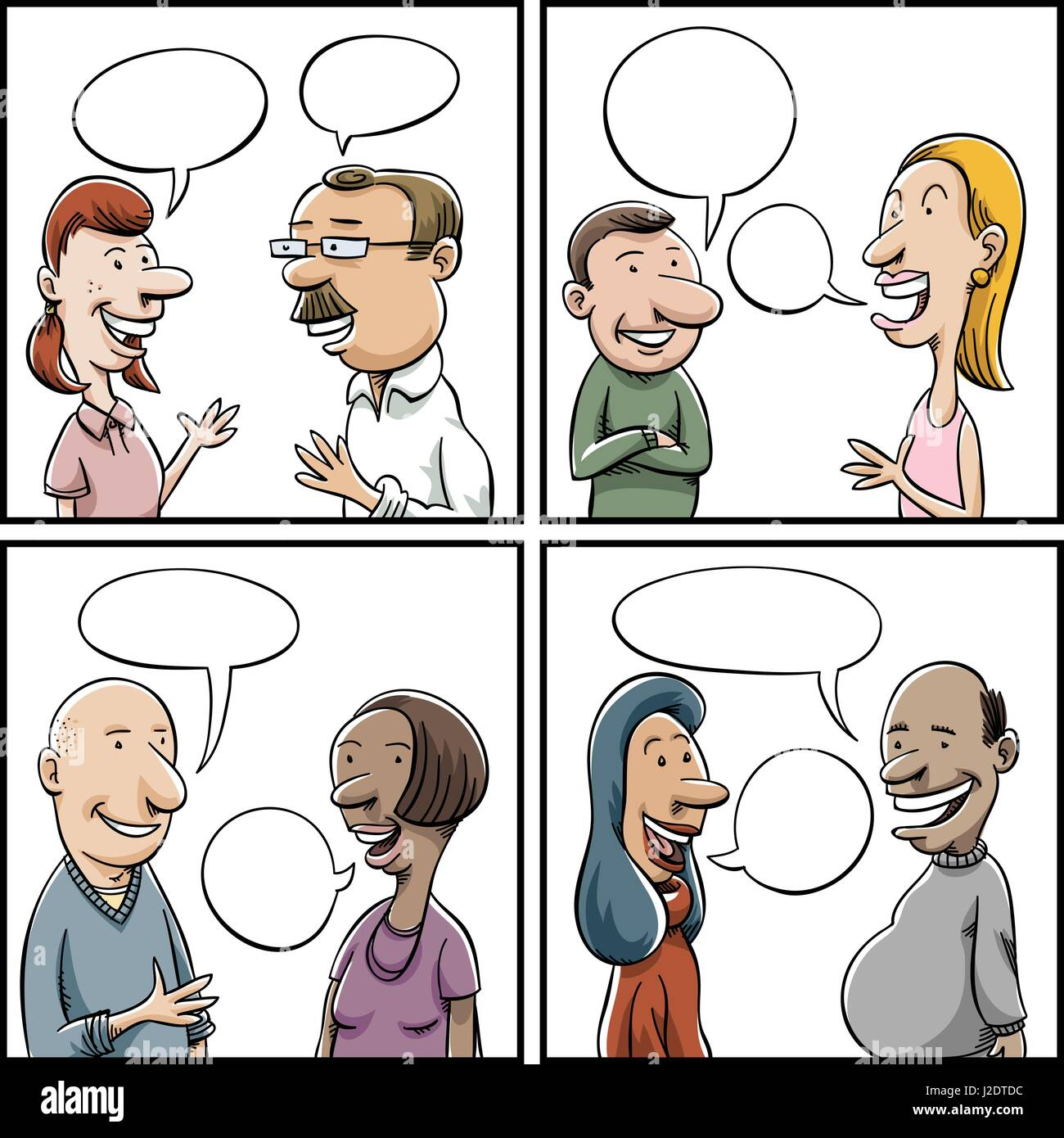 Four Panels Of A Variety Of Cartoon People Having