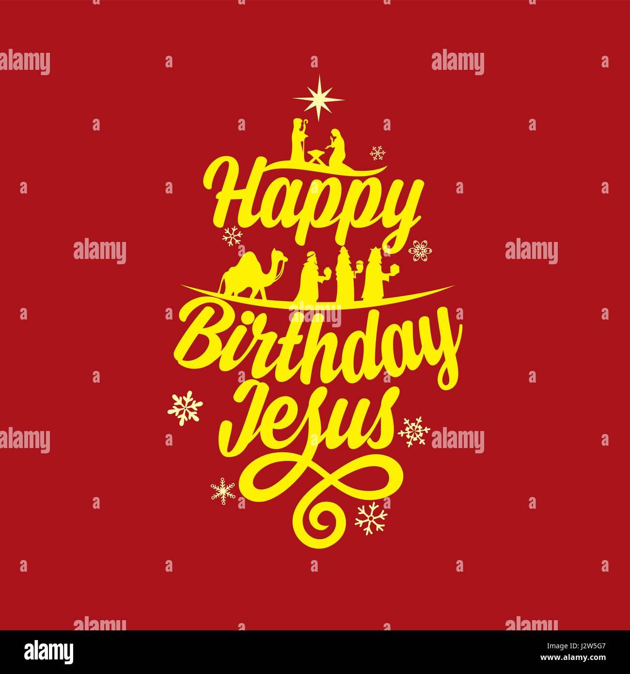 Postcard Of A Merry Christmas Happy Birthday Jesus Stock Vector Image Art Alamy