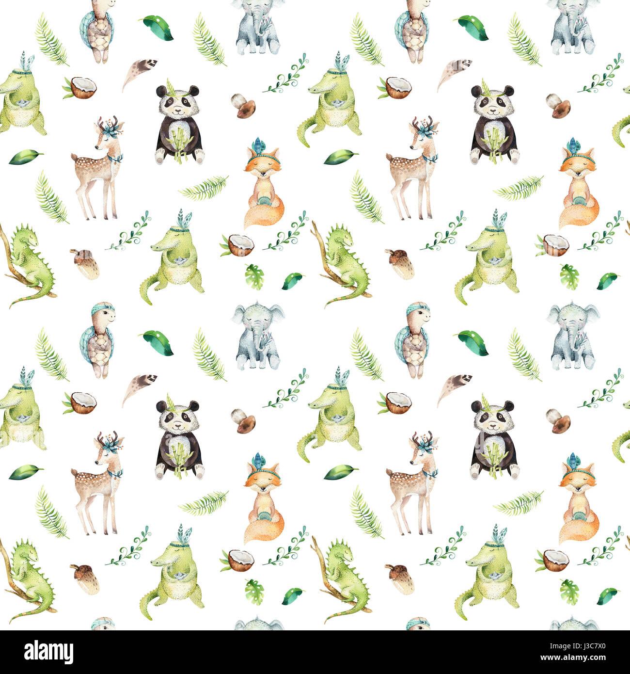 Baby Animals Nursery Isolated Seamless Pattern Watercolor Boho Stock Photo
