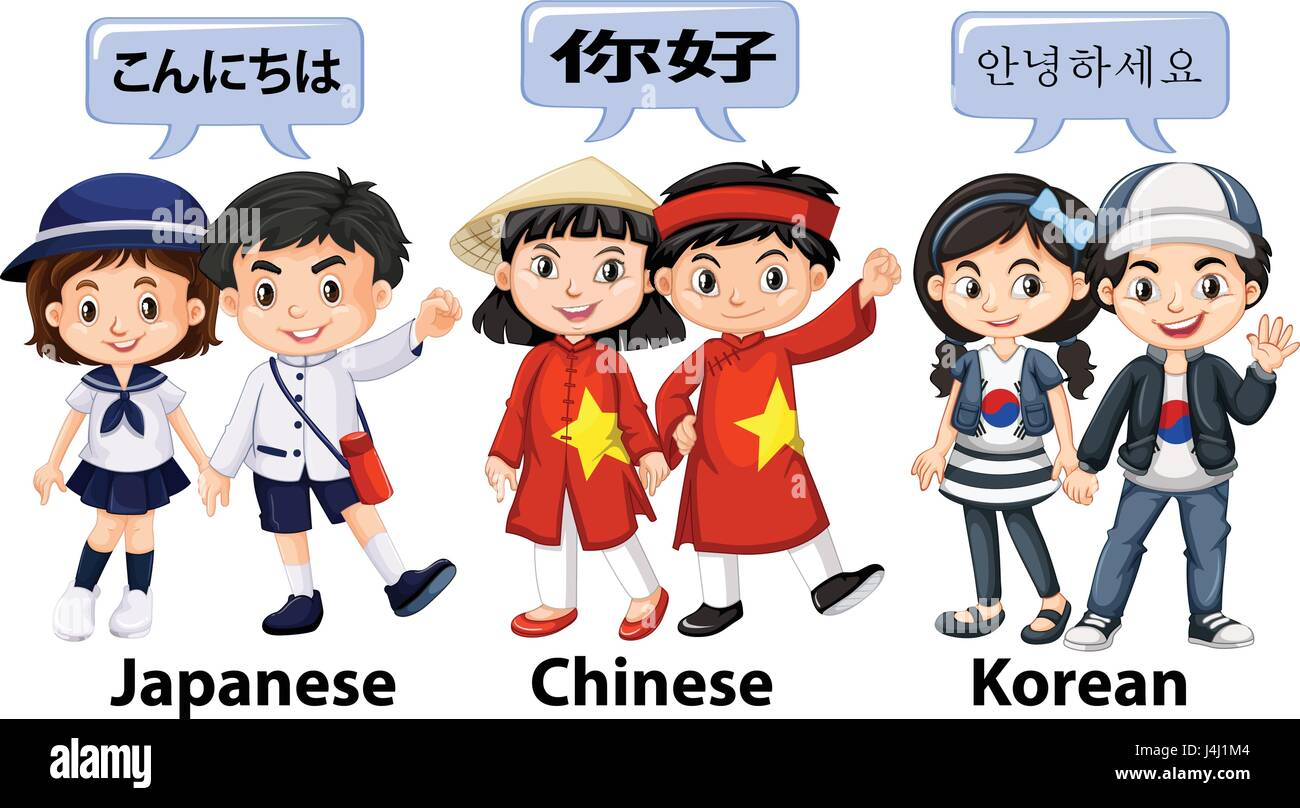 Kids from different countries in Asia illustration Stock Vector Art     Kids from different countries in Asia illustration