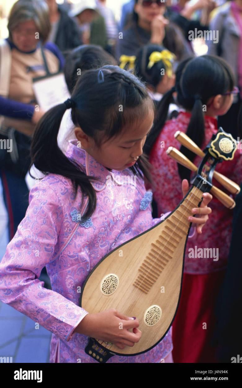 china, hong kong, kowloon, girl, musical instrument, asia, town