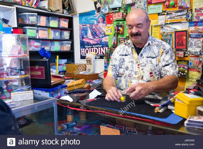 Kendrake the magician demonstrating magic tricks for sale at his ...