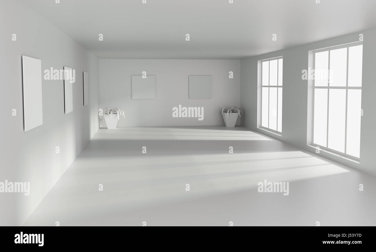Big Modern Empty White Room With With Big Windows 3D