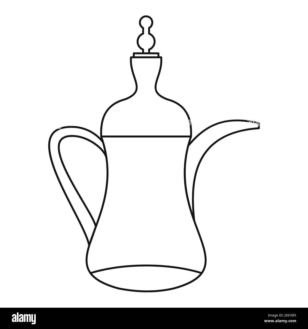 Arabic Coffee Pot Icon Outline Style Stock Vector Art