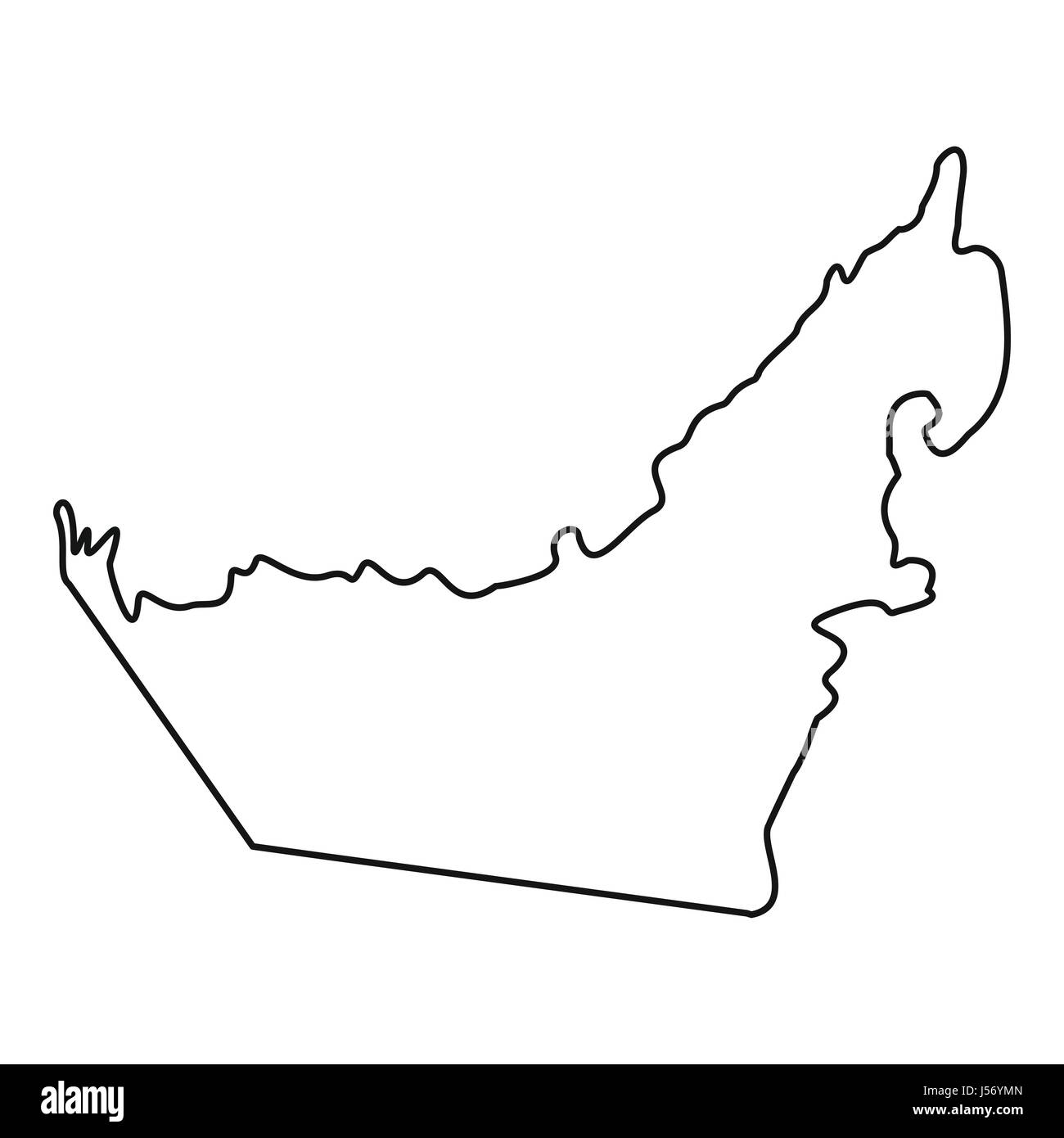 Map Of United Arab Emirates Icon Outline Style Stock