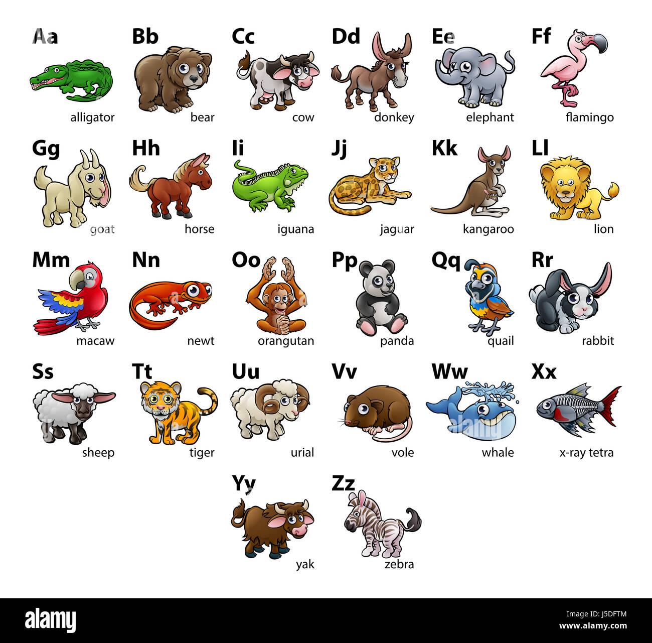 A Cartoon Animal Alphabet Set Abc Educational Wall Chart