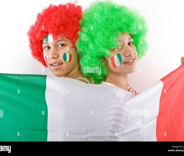 Flag Italian Teenager Bigots Wig Italia National Supporter Fan Italy Girl Girls Stock Image