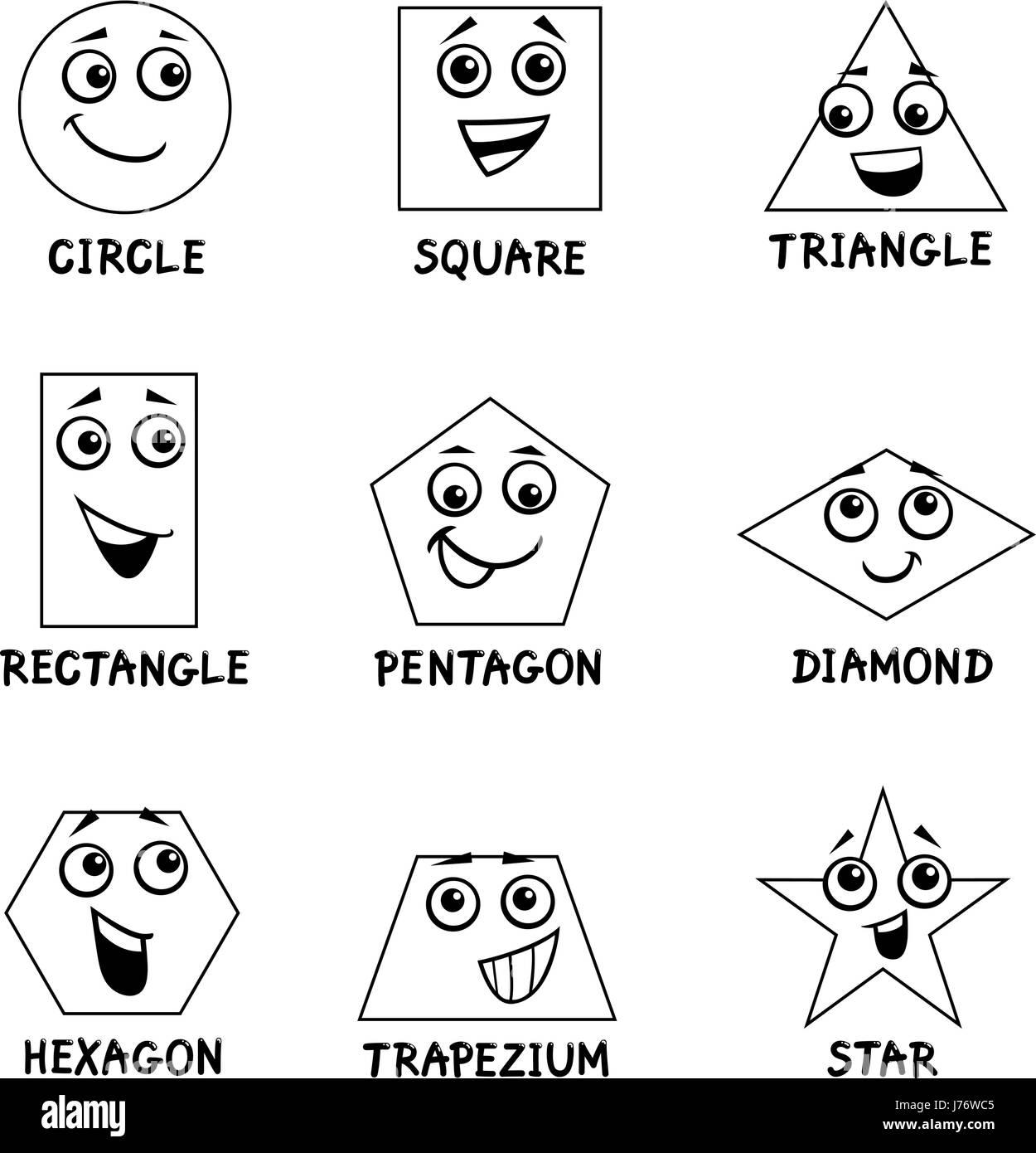 Black And White Cartoon Illustration Of Basic Geometric