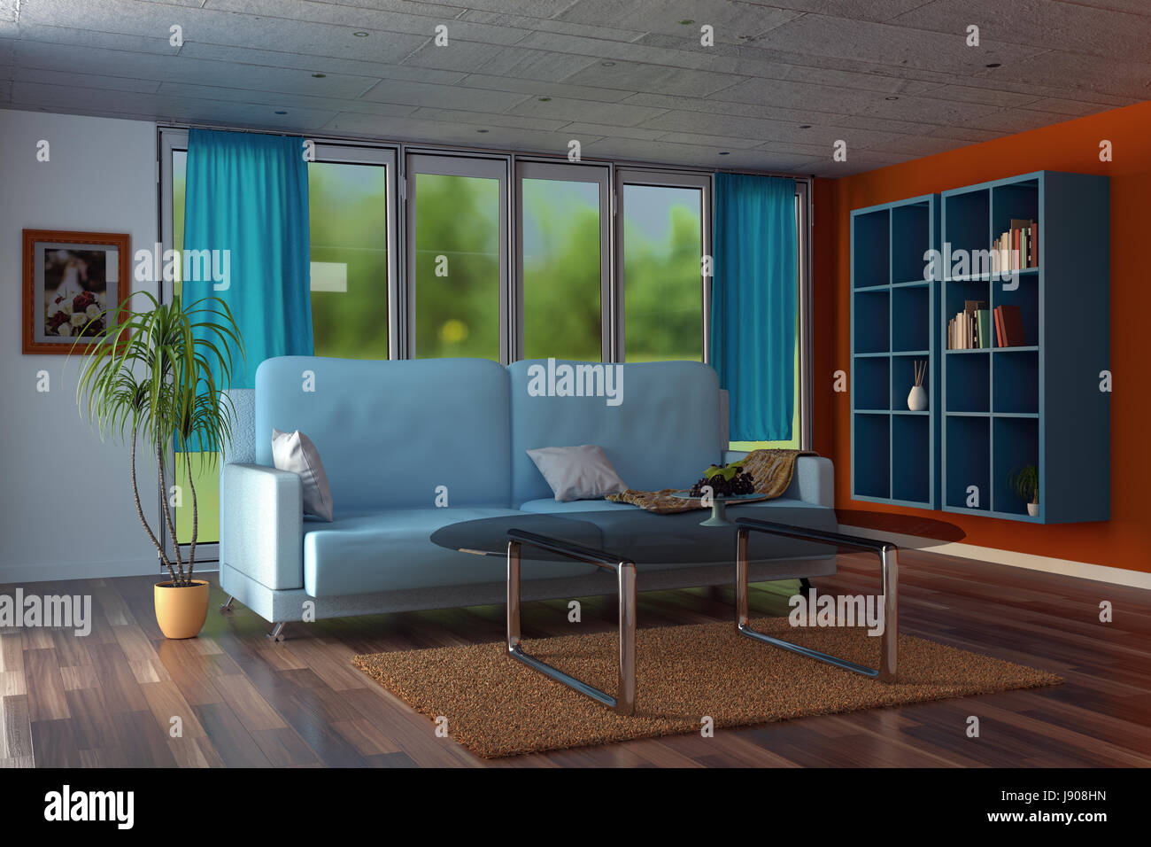 3d Rendering Of Modern Living Room With Orange Walls And