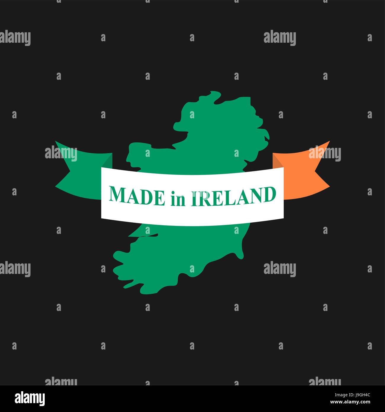 Made in Ireland  logo for product  Map of Ireland and Ribbon with     Made in Ireland  logo for product  Map of Ireland and Ribbon with colors of  Irish flag  Label template for production of