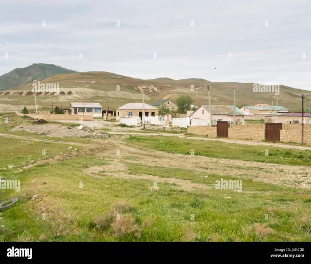 Houses And Homes Near The Village Of Jangi C C9 99ngi One Hour West Of Baku In Azerbaijan Concrete And Sandstone Buildings In An Open Landscape