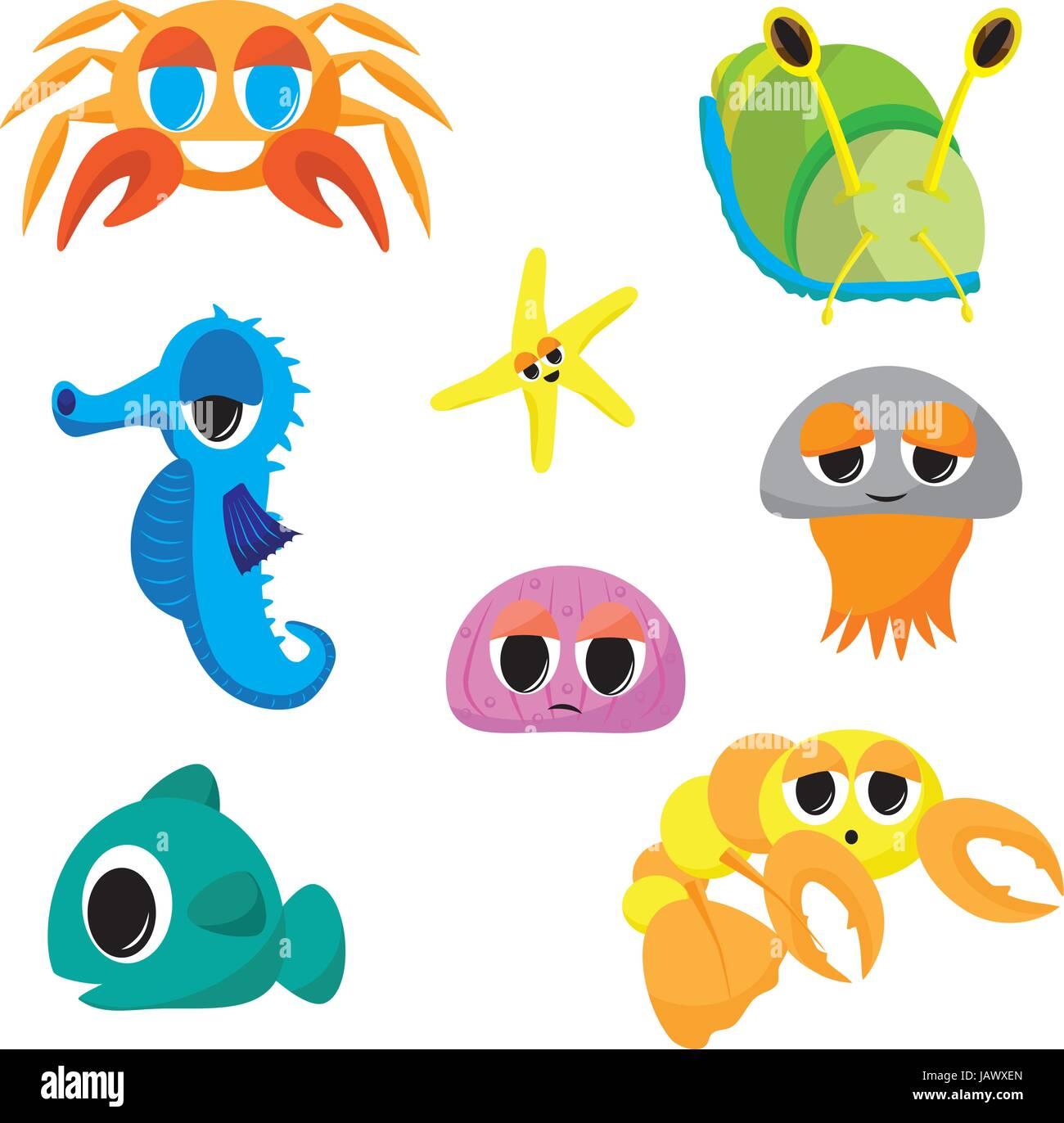 Collection Of Cartoon Sea Creatures Seahorse Crab Jelly