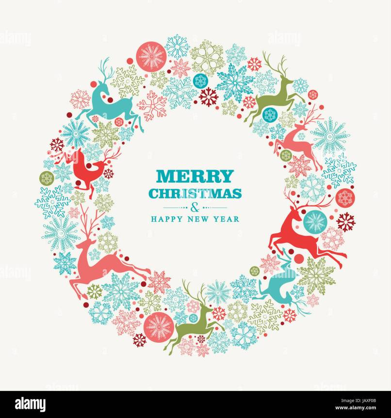 merry christmas and happy new year wreath shape greeting card stock