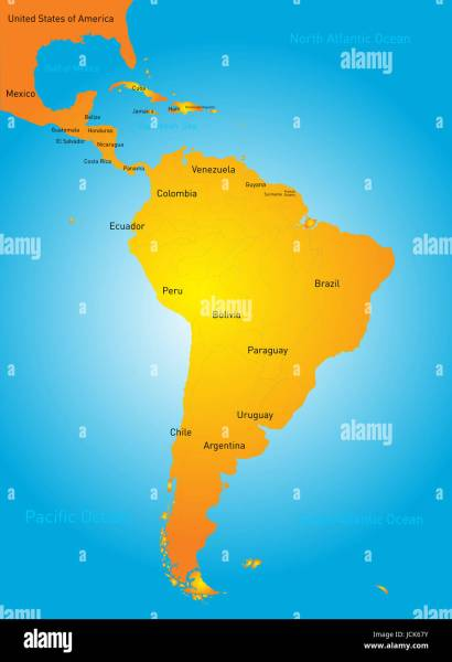 Vector color map of South America countries Stock Photo  145480831     Vector color map of South America countries