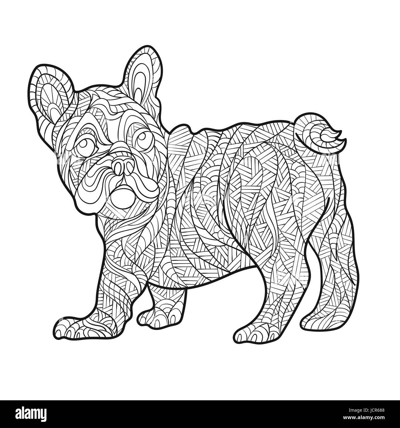 Vector Monochrome Hand Drawn Zentagle Illustration Of French Bulldog Stock Vector Image Art Alamy