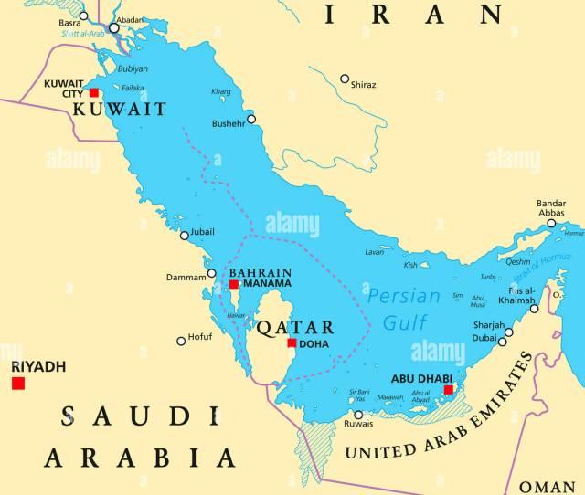 Persian Gulf Region Countries Political Map Iran Iraq Kuwait Qatar Bahrain United Arab Emirates Saudi Arabia Oman Illustration English