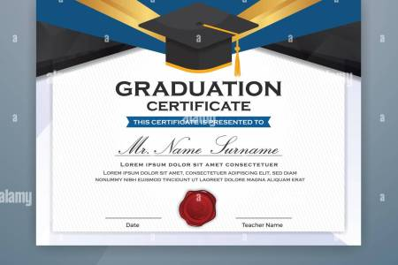 High School Diploma Certificate Template Design with graduate cap     High School Diploma Certificate Template Design with graduate cap for  Print  Vector illustration